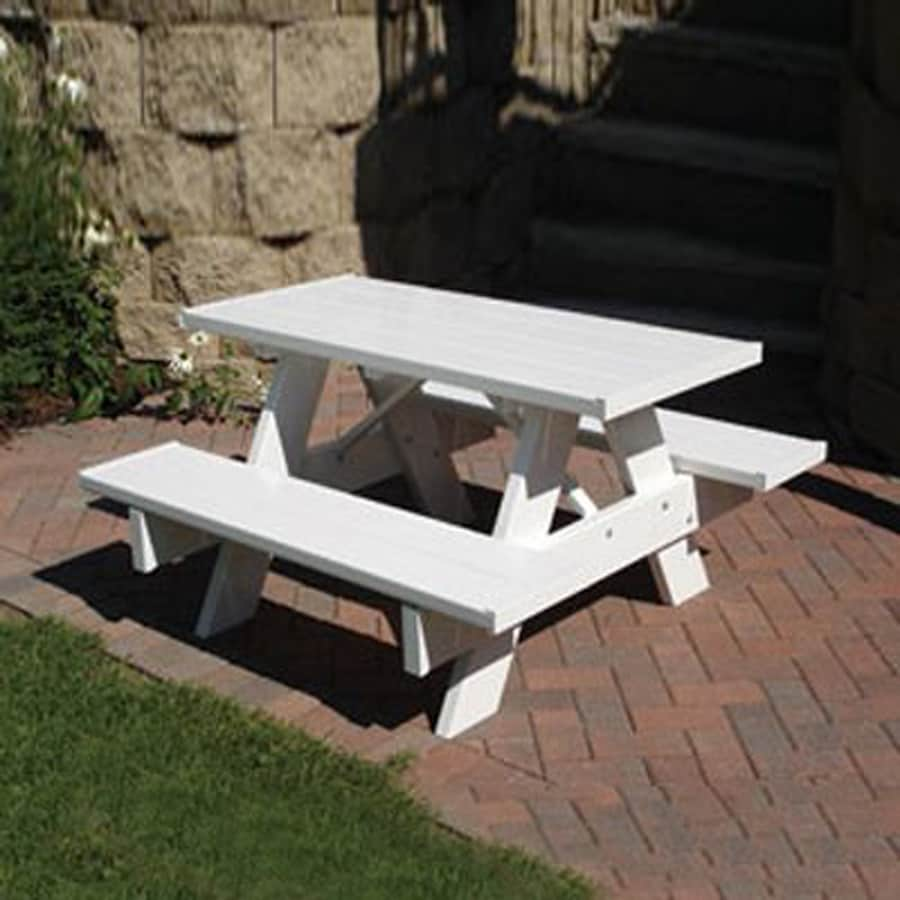 Shop dura trel 4 ft white rectangle kids picnic table at lowes dura trel 4 ft white rectangle kids picnic table watchthetrailerfo