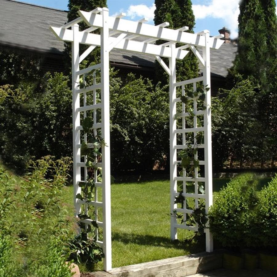 Shop Dura Trel 64 in W x 85 in H White Garden Arbor at Lowescom