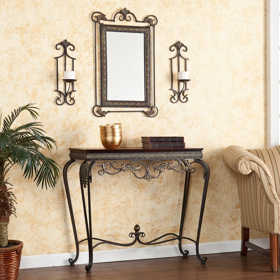 Boston Loft Furnishings Capshaw Aged Bronze/Antique Walnut Rectangular Console and Sofa Table