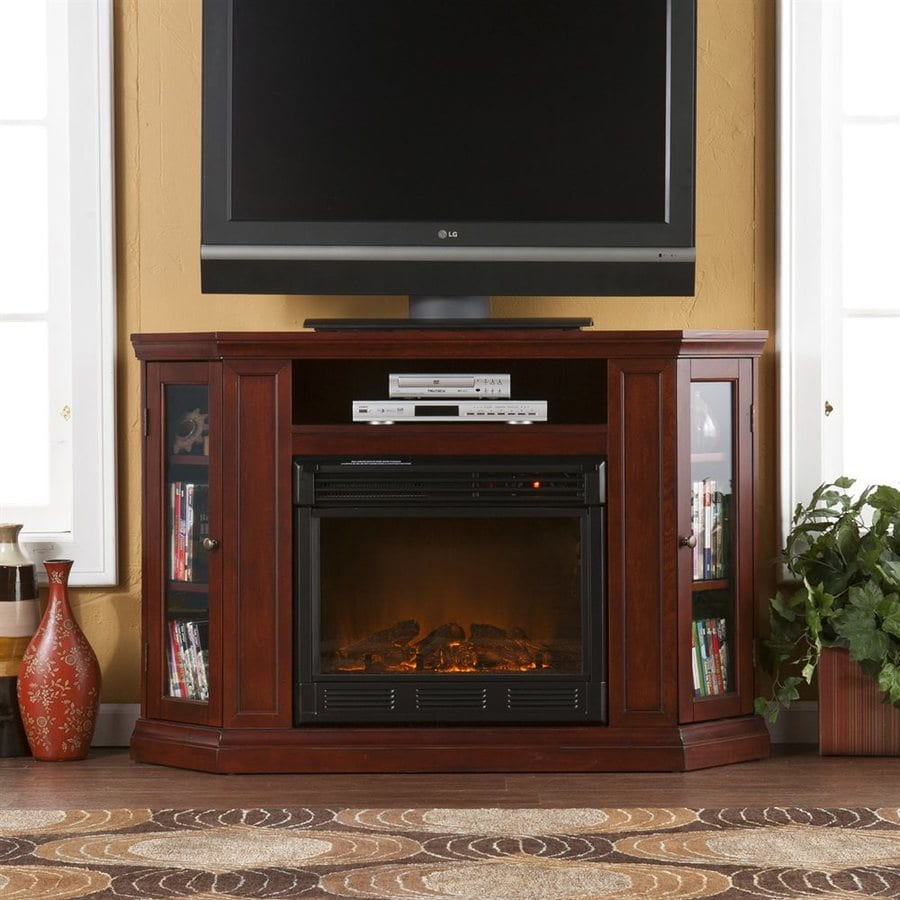 Boston Loft Furnishings 48-in W 4700-BTU Cherry Wood and Wood Veneer Fan-Forced Electric Fireplace with Thermostat and Remote Control
