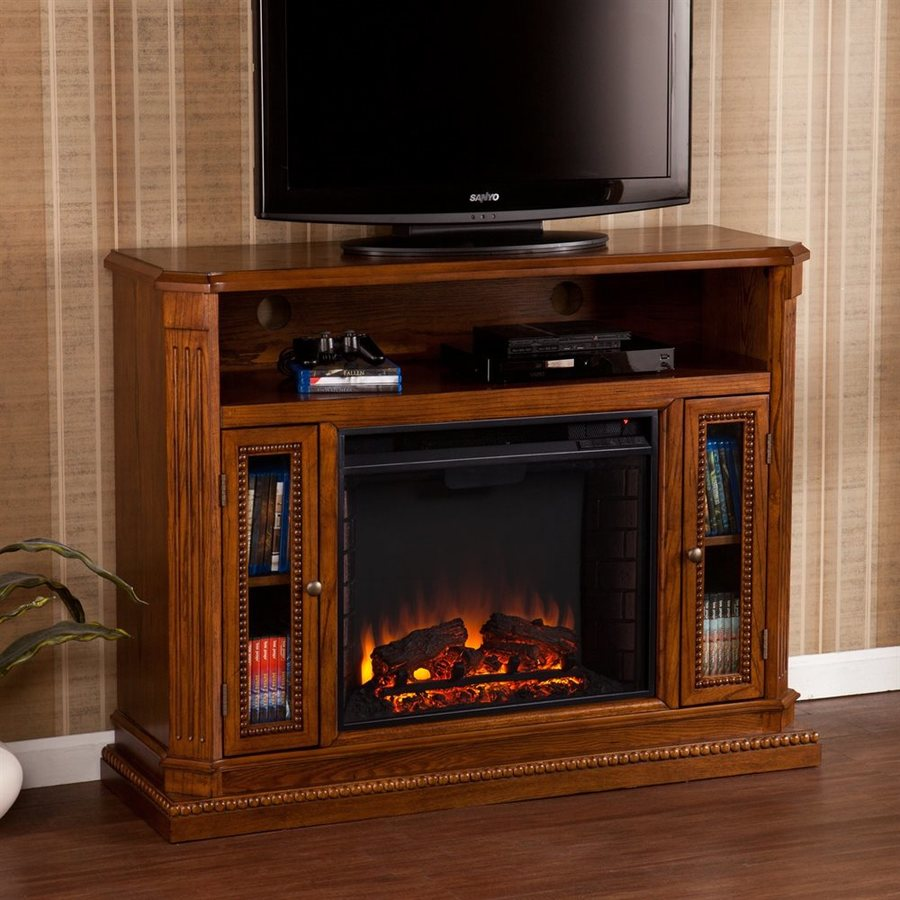 Boston Loft Furnishings 47.25-in W 4700-BTU Rich Brown Oak Wood Veneer Fan-Forced Electric Fireplace with Thermostat and Remote Control
