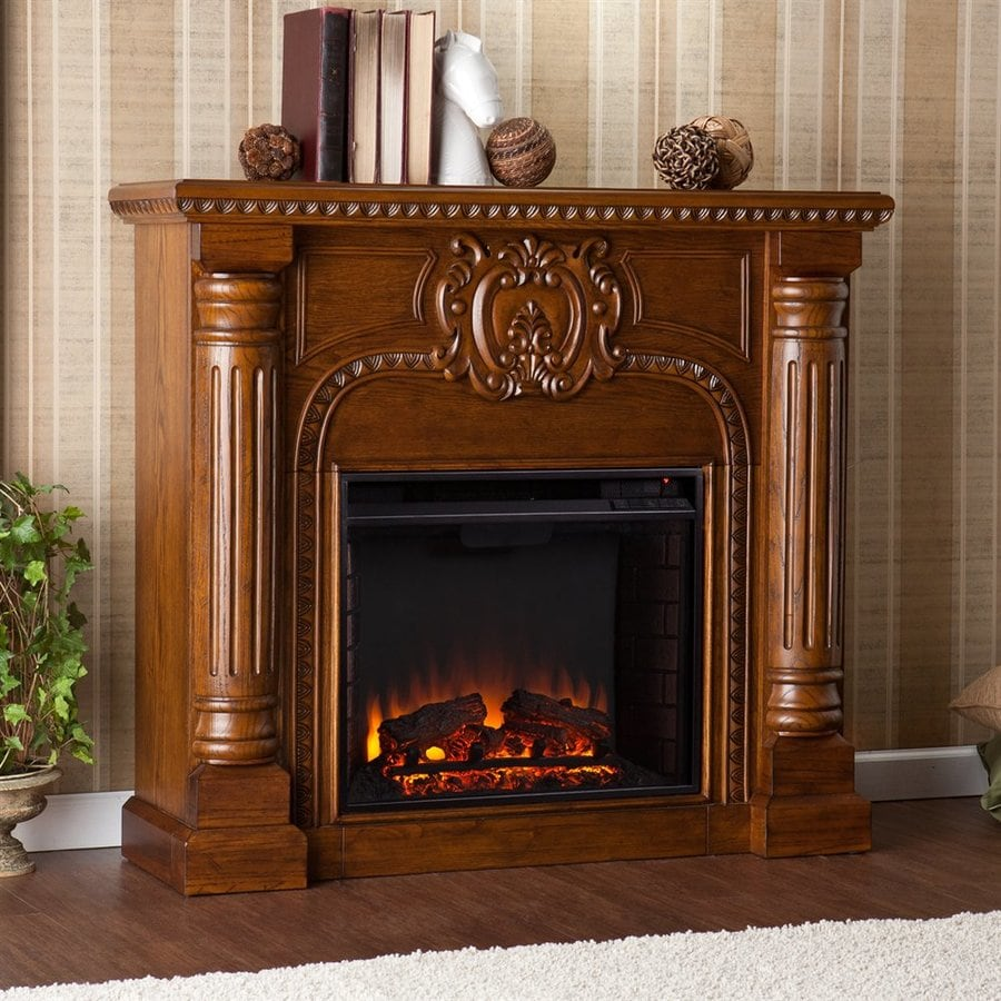 Boston Loft Furnishings 45.25-in W 4700-BTU Salem Antique Oak Wood Veneer Fan-Forced Electric Fireplace with Thermostat and Remote Control
