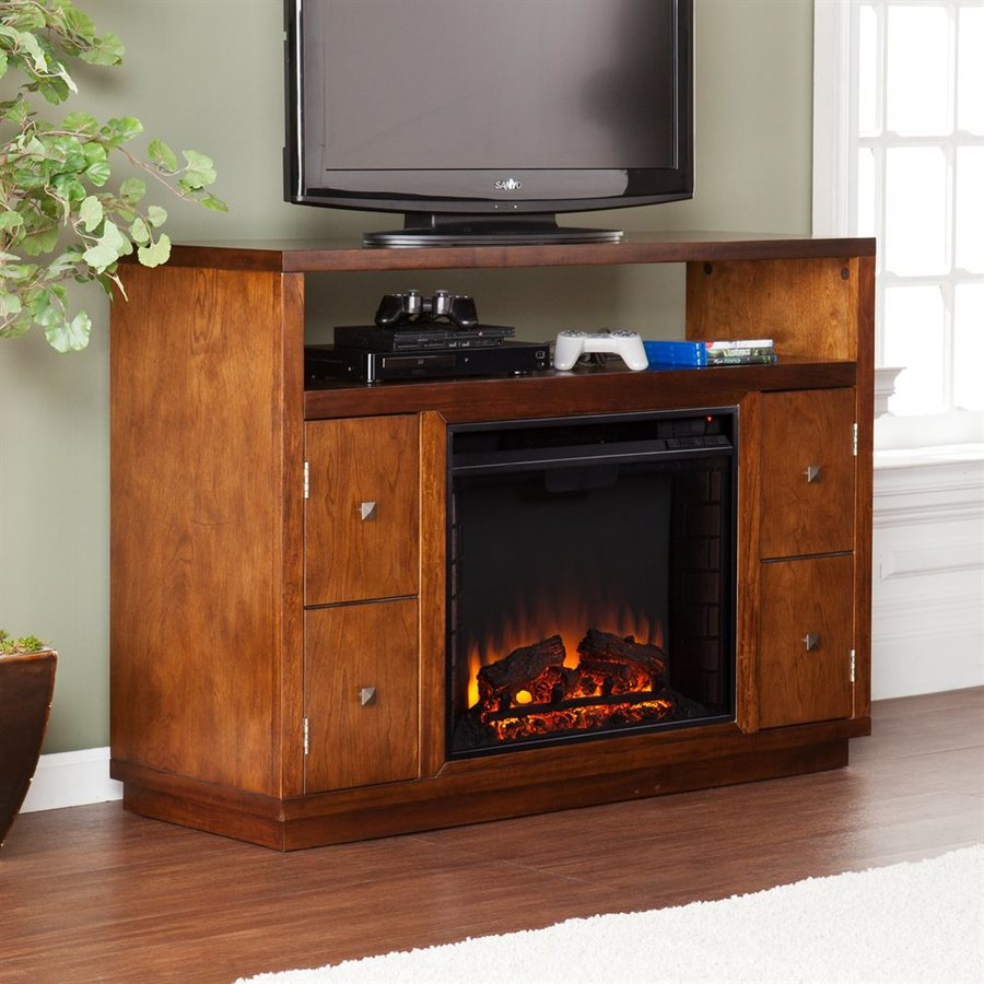 Boston Loft Furnishings 47.75-in W 4700-BTU Tobacco Wood Veneer Fan-Forced Electric Fireplace with Thermostat and Remote Control