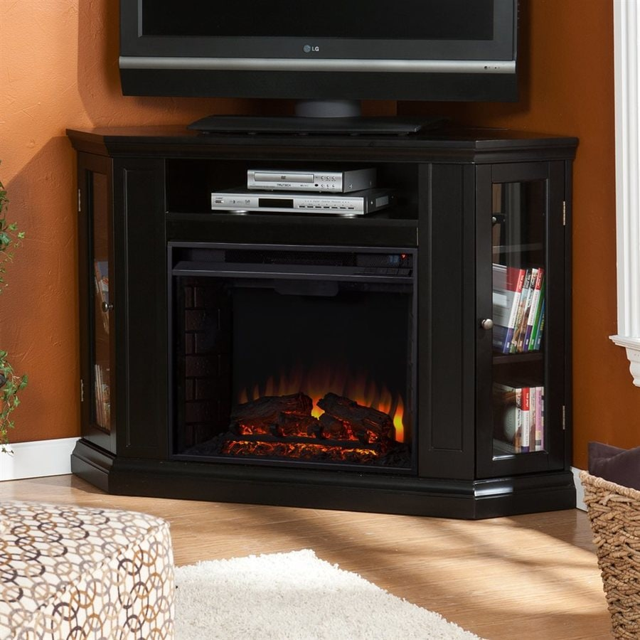 Boston Loft Furnishings 48-in W 4700-BTU Black Wood Veneer Fan-Forced Electric Fireplace with Thermostat and Remote Control