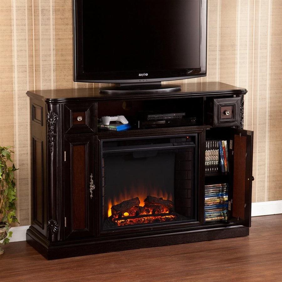 Boston Loft Furnishings 48-in W 4700-BTU Ebony/Dark Antique Wood Veneer Fan-Forced Electric Fireplace with Thermostat and Remote Control