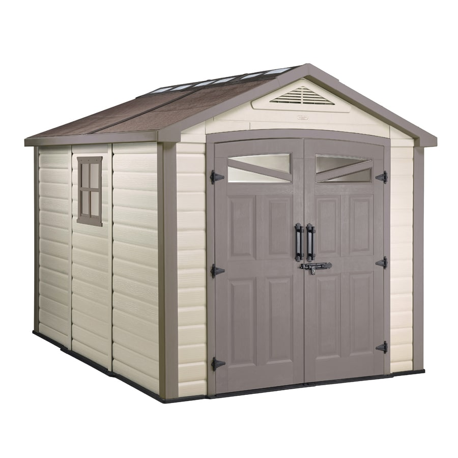 Shop keter orion gable storage shed common 9 ft x 9 ft for Casas de plastico para jardin mexico