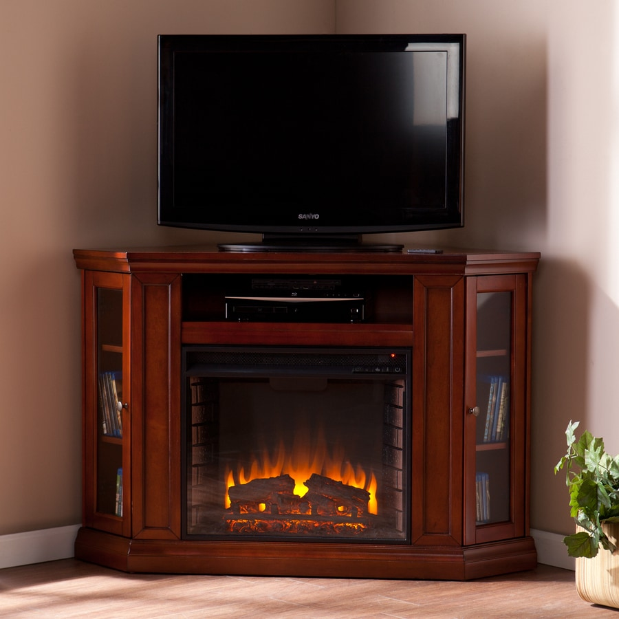 Boston Loft Furnishings 48-in W 4700-BTU Brown Mahogany Wood Fan-Forced Electric Fireplace with Thermostat and Remote Control