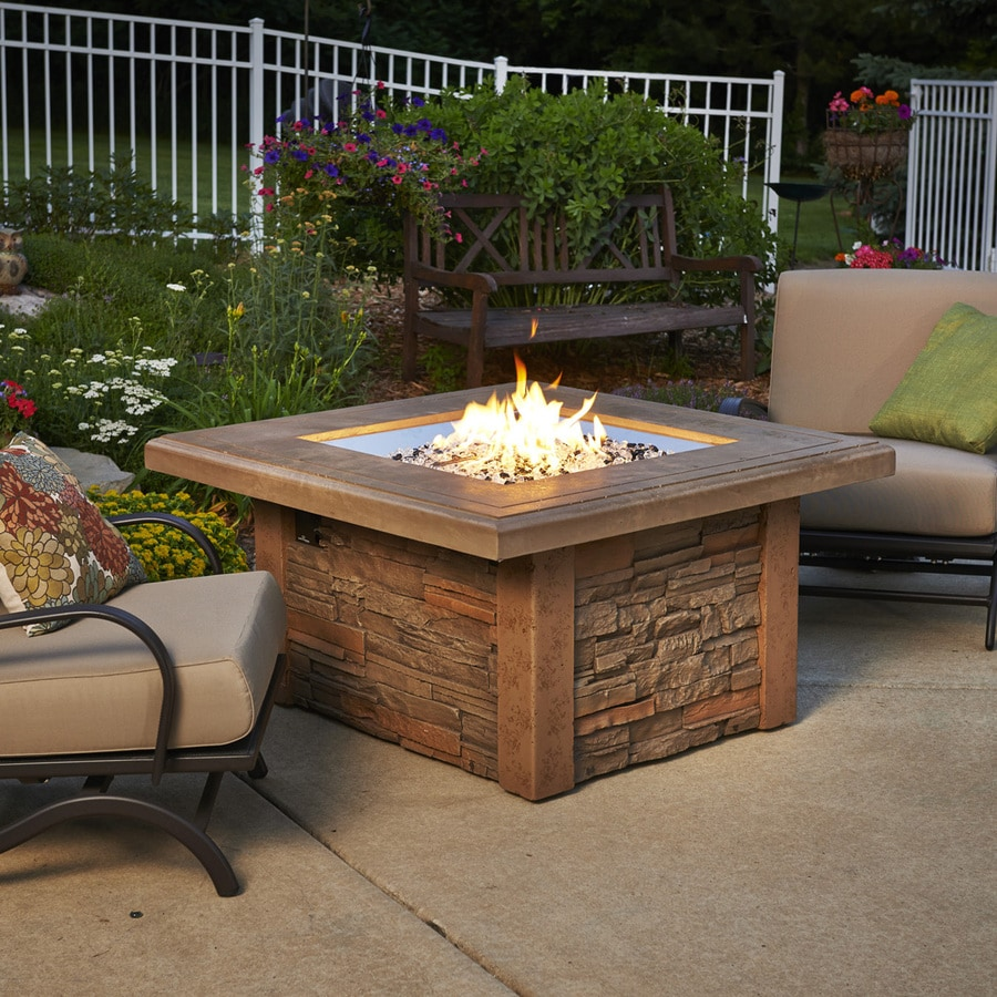 Shop Outdoor Greatroom Company 43 5 In W 80000 Btu Mocha Faux Stone Liquid Propane Fire Table At