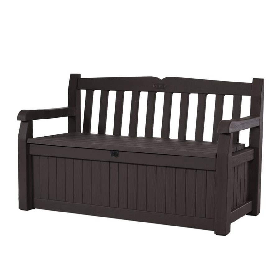 Shop keter eden 23 4 in w x 54 6 in l brown resin patio bench at Storage bench outdoor