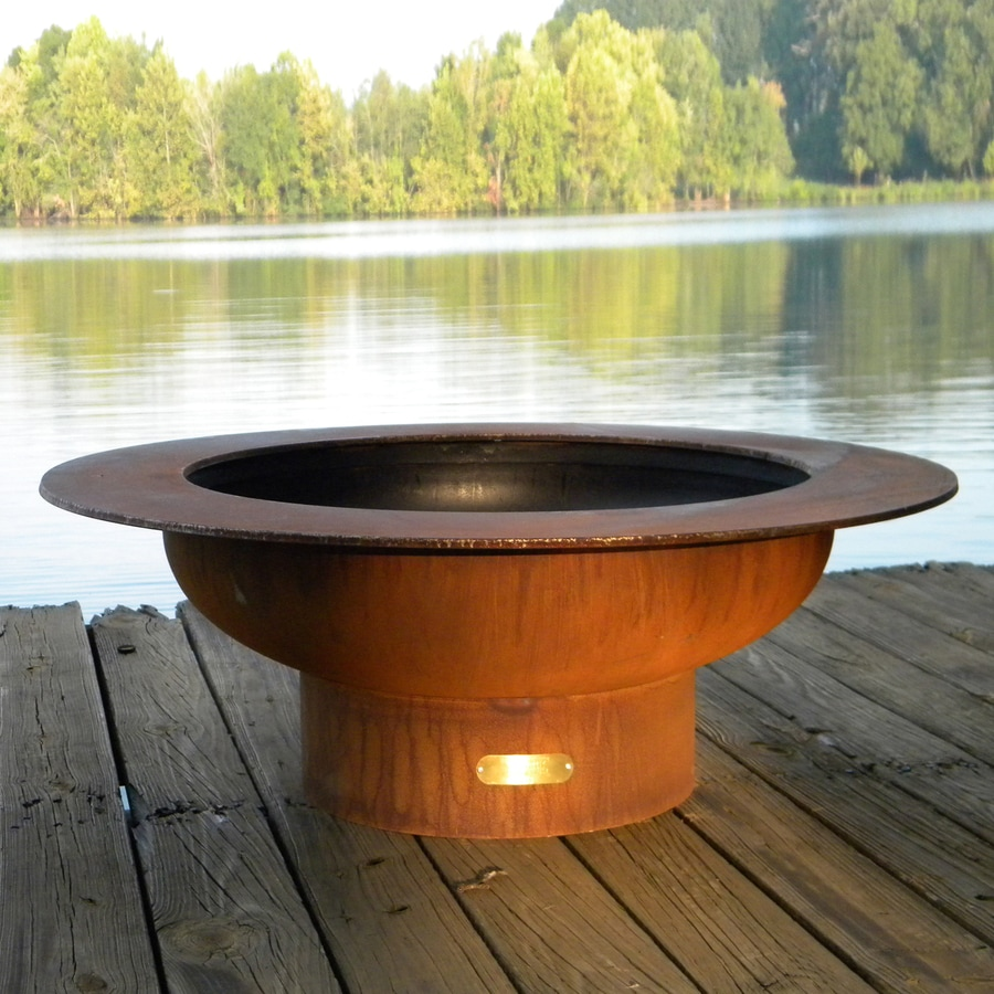Fire Pit Art 40-in W Iron Oxide Patina Steel Wood-Burning Fire Pit