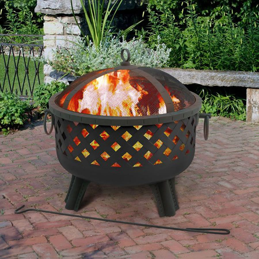 Landmann USA Garden Lights 28.5-in W Black Steel Wood-Burning Fire Pit