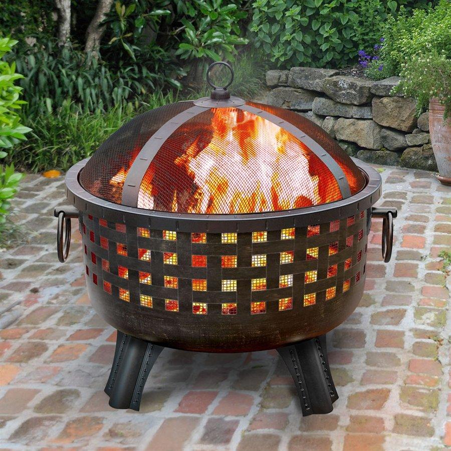 Landmann USA Garden Lights 28.5-in W Antique Bronze Steel Wood-Burning Fire Pit