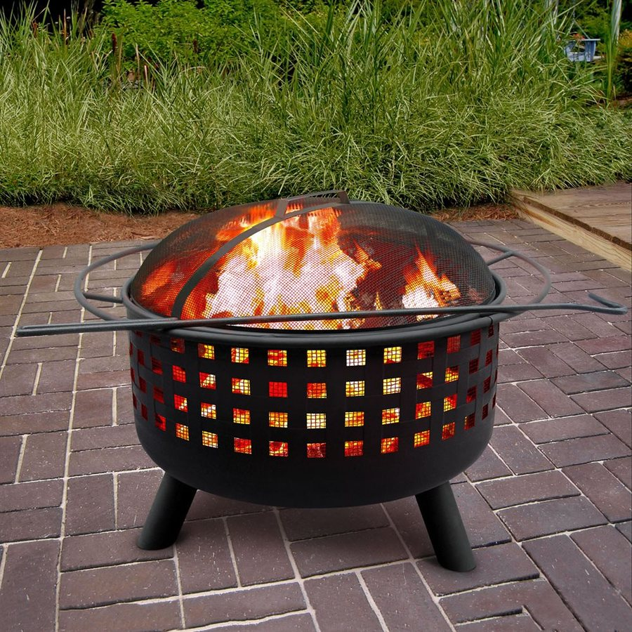 Landmann USA City Lights 29.5-in W Black Steel Wood-Burning Fire Pit
