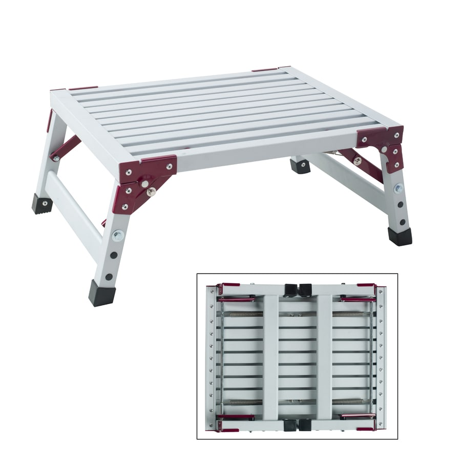 GPL 1-Step 500-lb Load Capacity White Aluminum Step Stool