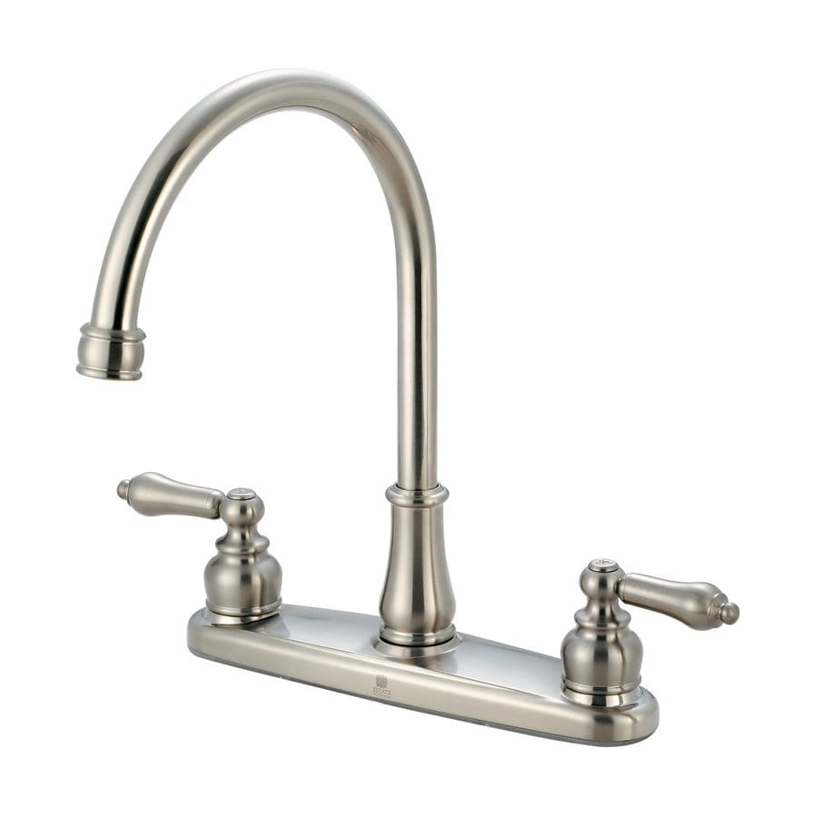 Pioneer Industries Brentwood Brushed Nickel 2-Handle Deck Mount High-Arc Kitchen Faucet