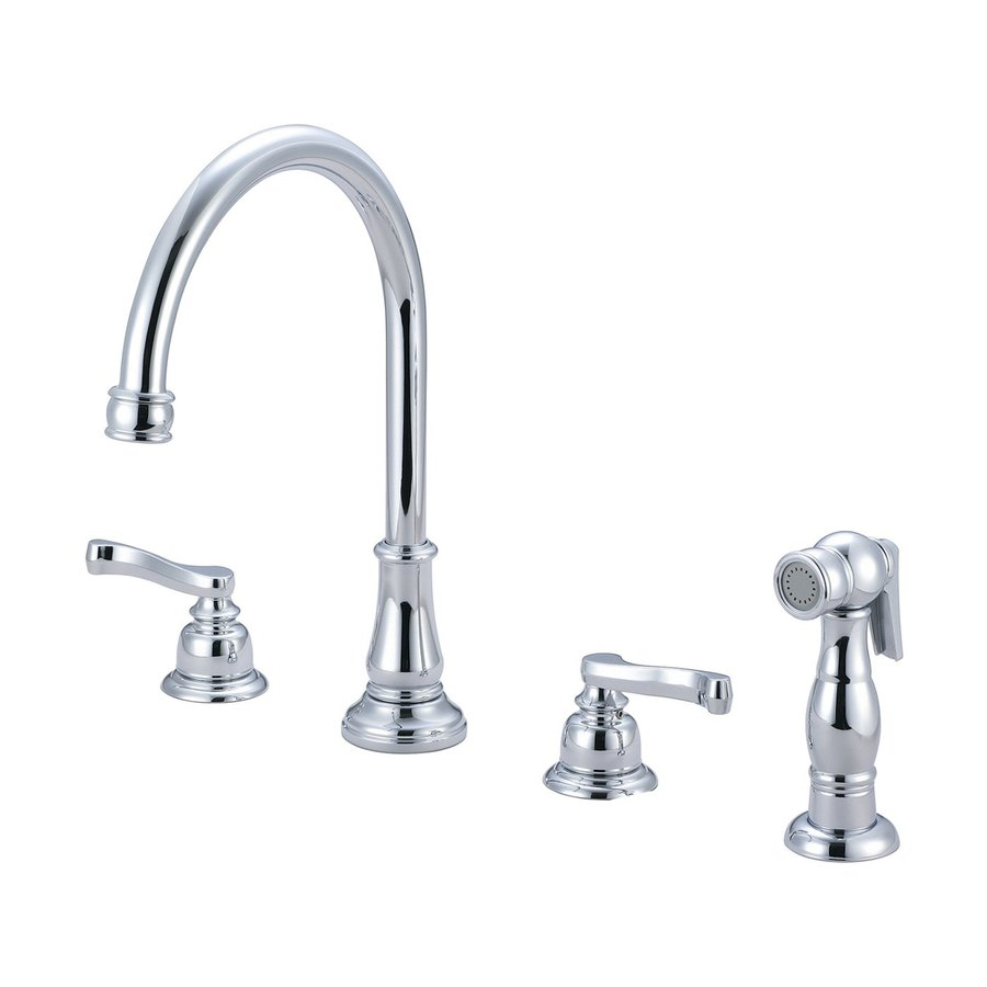Pioneer Industries Brentwood Polished Chrome 2-Handle Deck Mount High-Arc Kitchen Faucet