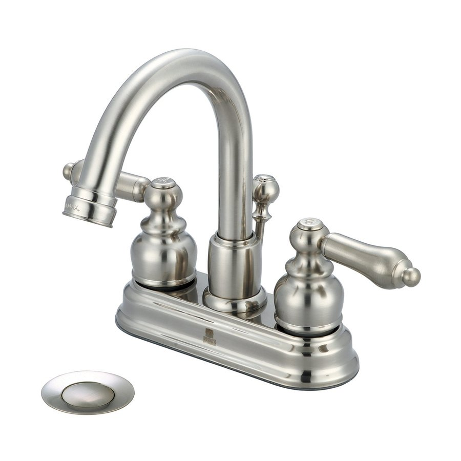Pioneer Industries Brentwood Brushed Nickel 2-Handle 4-in Centerset WaterSense Bathroom Faucet (Drain Included)