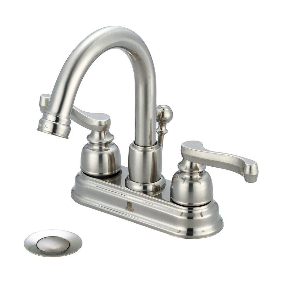 Pioneer Industries Brentwood Brushed Nickel 2-Handle 4-in Centerset WaterSense Bathroom Faucet (Drain Included)