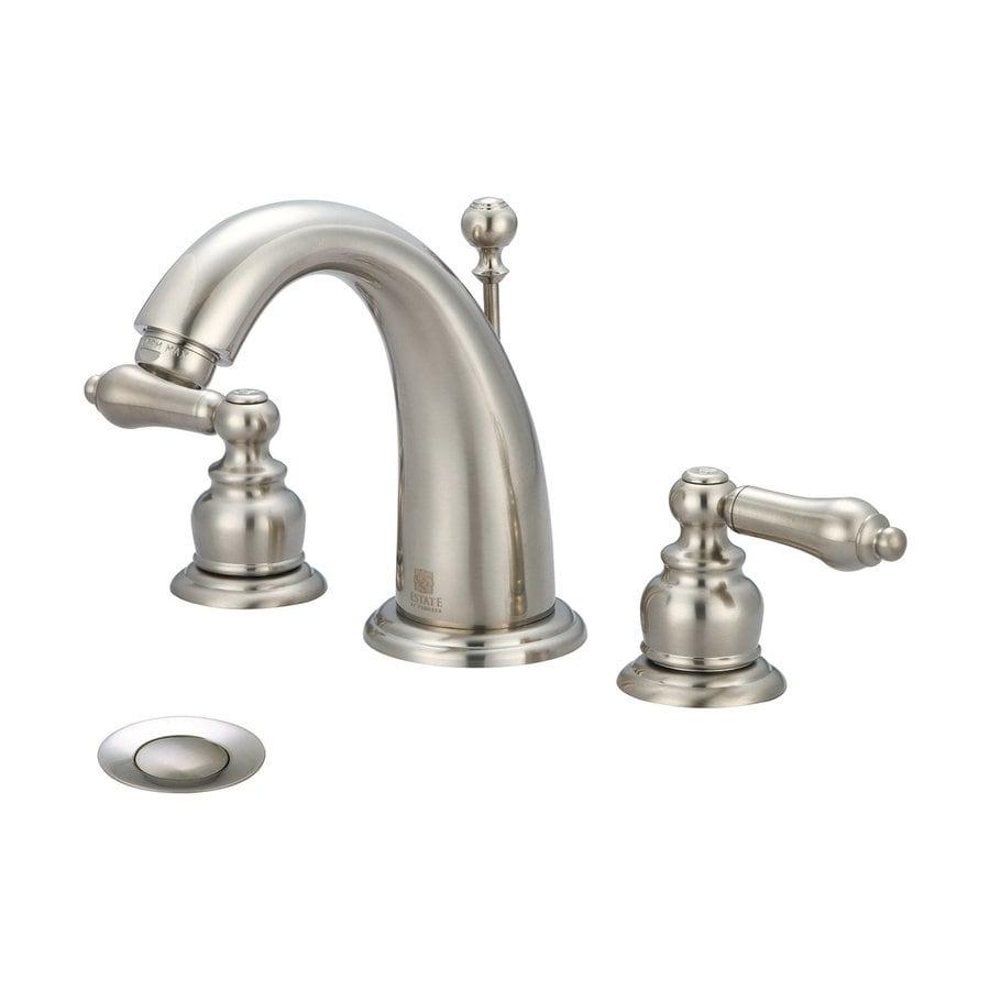 Pioneer Industries Brentwood Brushed Nickel 2-Handle Widespread WaterSense Bathroom Faucet (Drain Included)