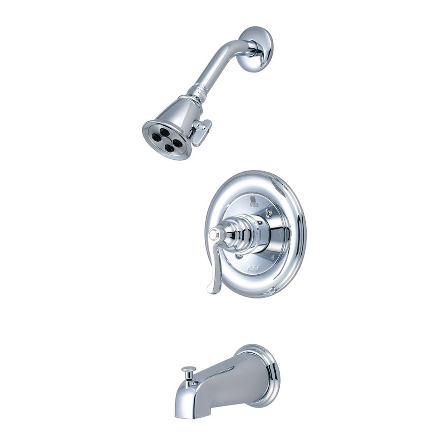 Pioneer Industries Brentwood Polished Chrome 1-Handle WaterSense Bathtub and Shower Faucet Trim Kit with Multi-Function Showerhead