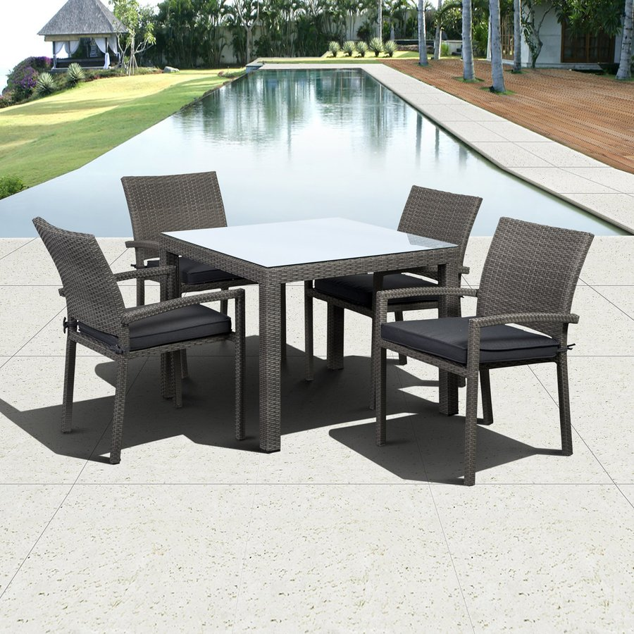 International Home Atlantic Liberty 5-Piece Glass Patio Dining Set