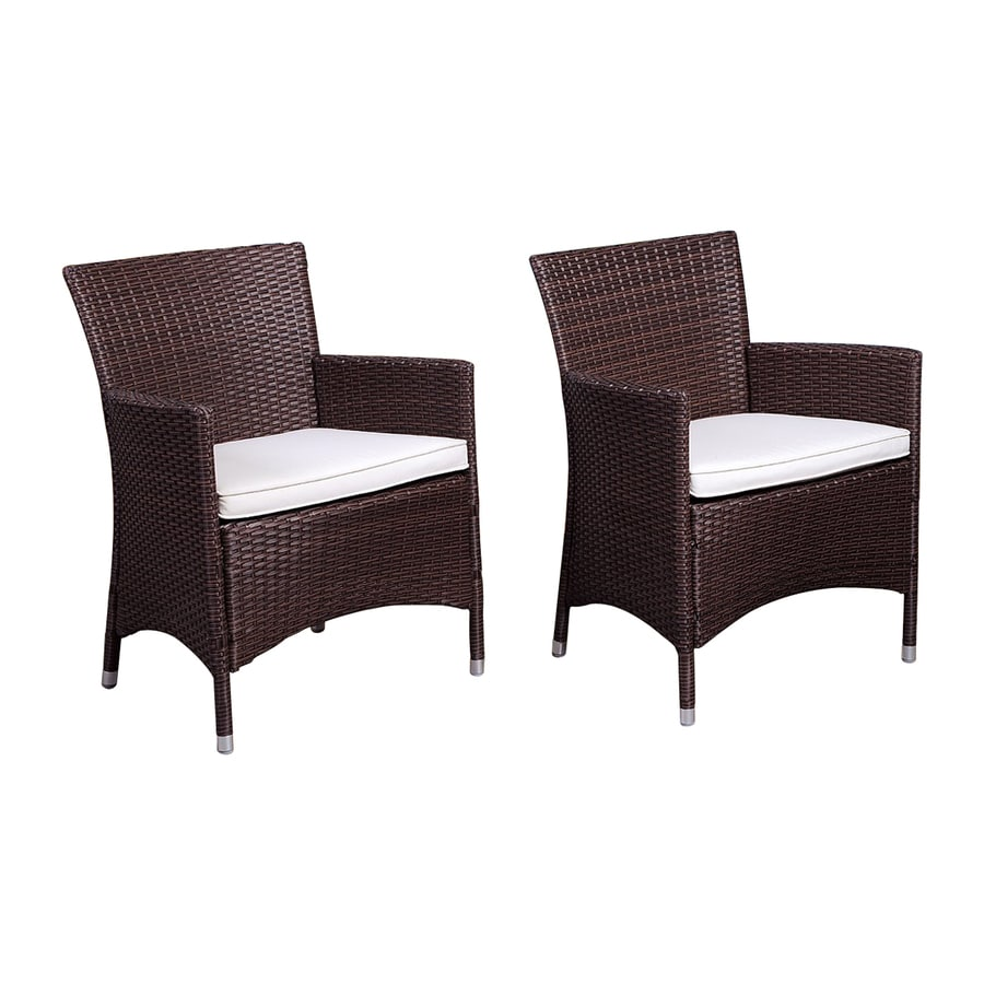 International Home Atlantic 2-Count Brown Wicker Patio Conversation Chairs