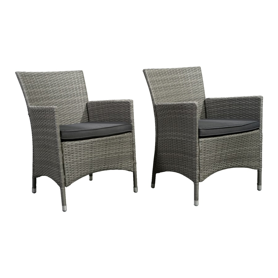 International Home Atlantic Set Of 2 Wicker Conversation Chairs With Gray  Cushioned