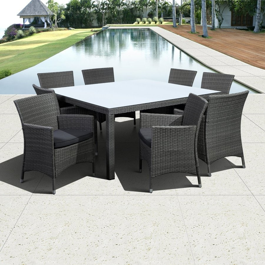International Home Atlantic Grand New Liberty Deluxe 9-Piece Grey Glass Patio Dining Set