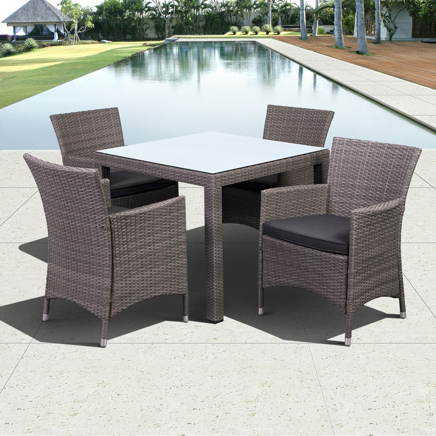 International Home Atlantic 5-Piece Grey Wicker Wicker Dining Patio Dining Set with Grey Cushion(s) Included