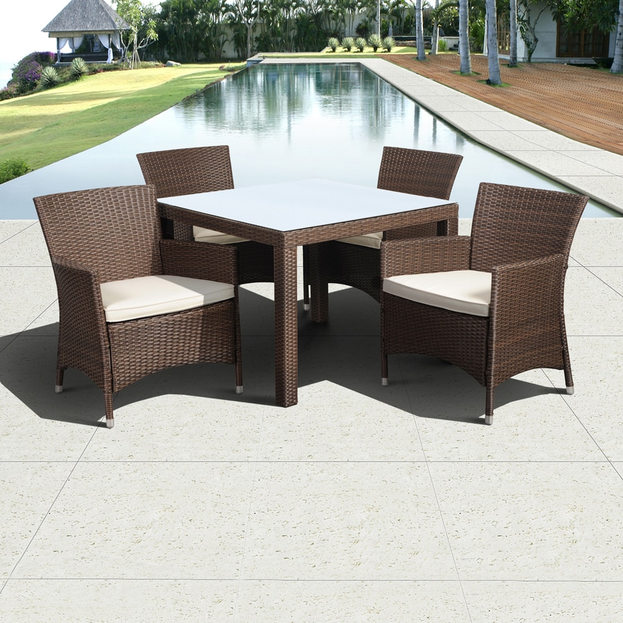 International Home Atlantic 5-Piece Brown Glass Tabletop Patio Dining Set