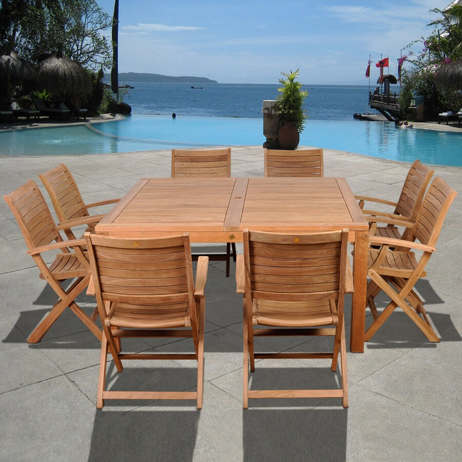 International Home Amazonia Teak 9-Piece Light Brown Teak Patio Dining Set