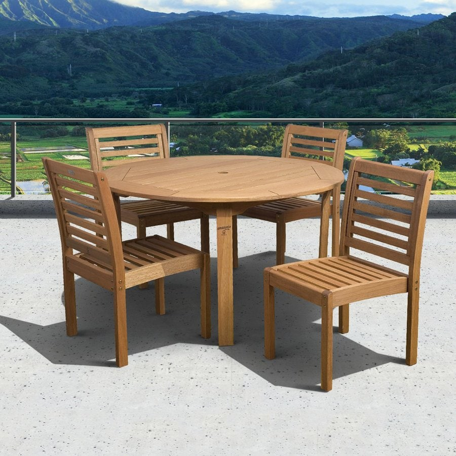International Home Amazonia 5-Piece Brown Eucalyptus Dining Patio Dining Set