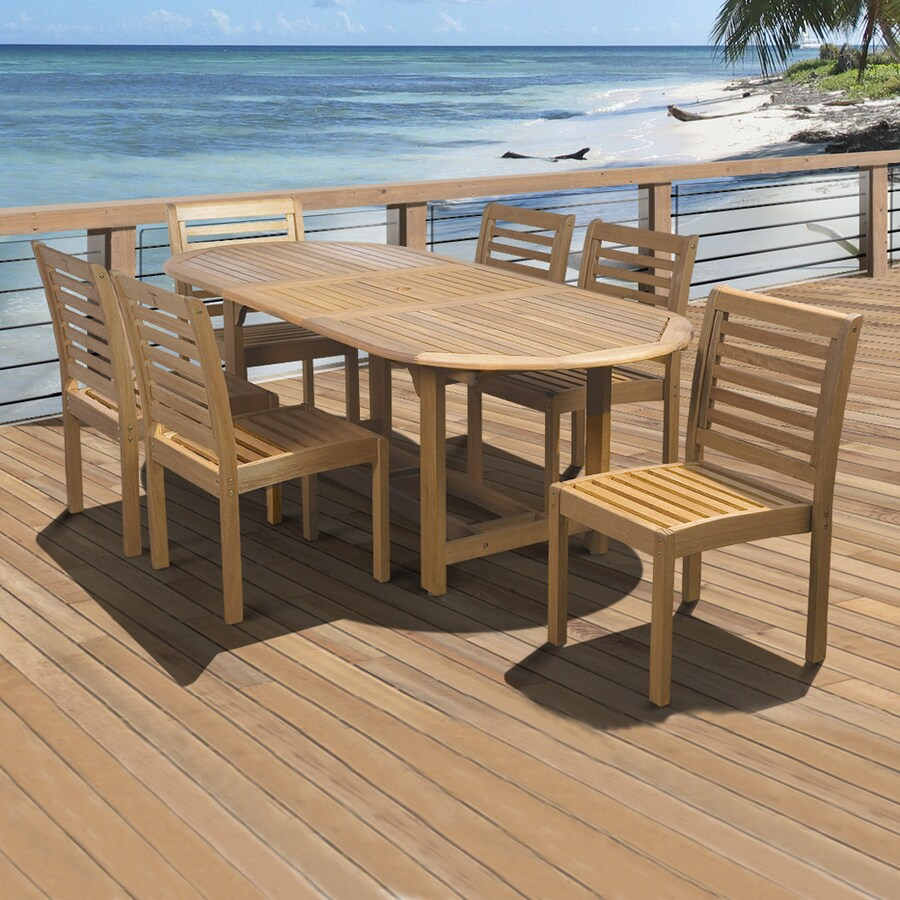International Home Amazonia 7-Piece Eucalyptus Patio Dining Set