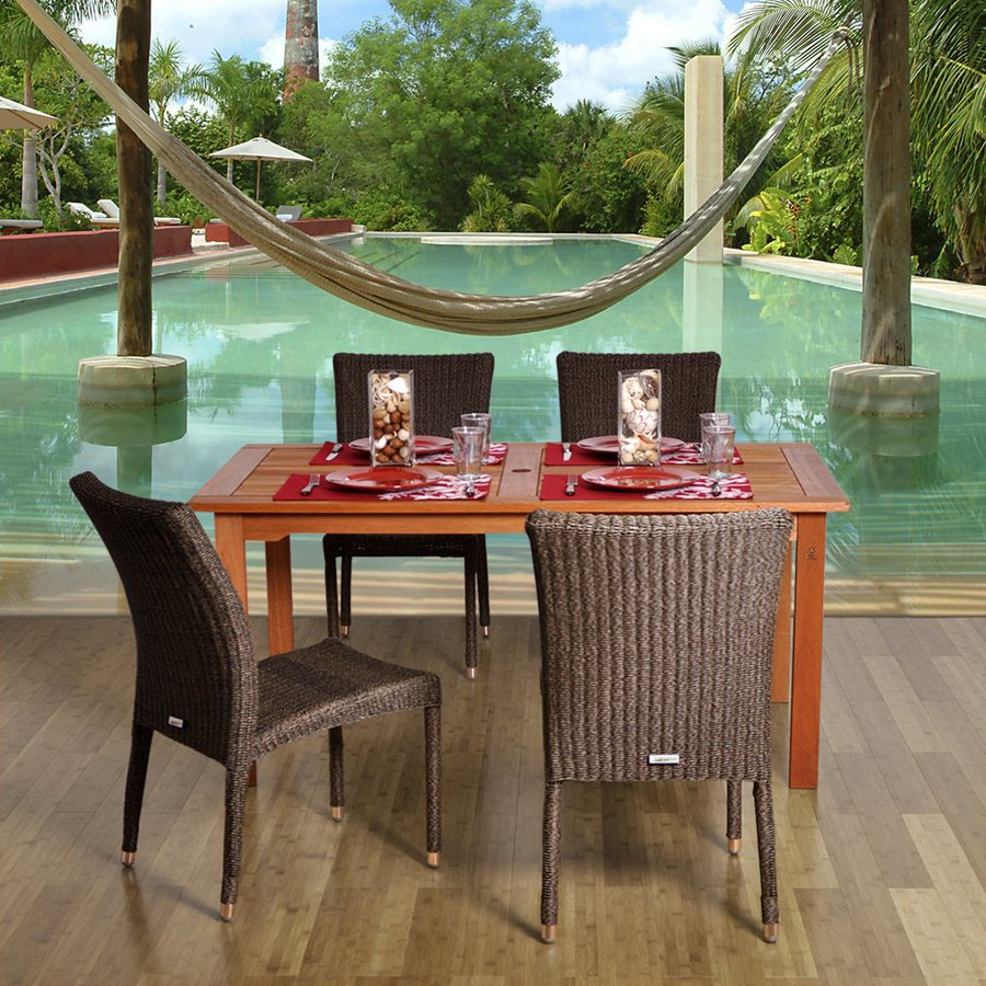 International Home Amazonia 5-Piece Brown Wicker Wicker Dining Patio Dining Set