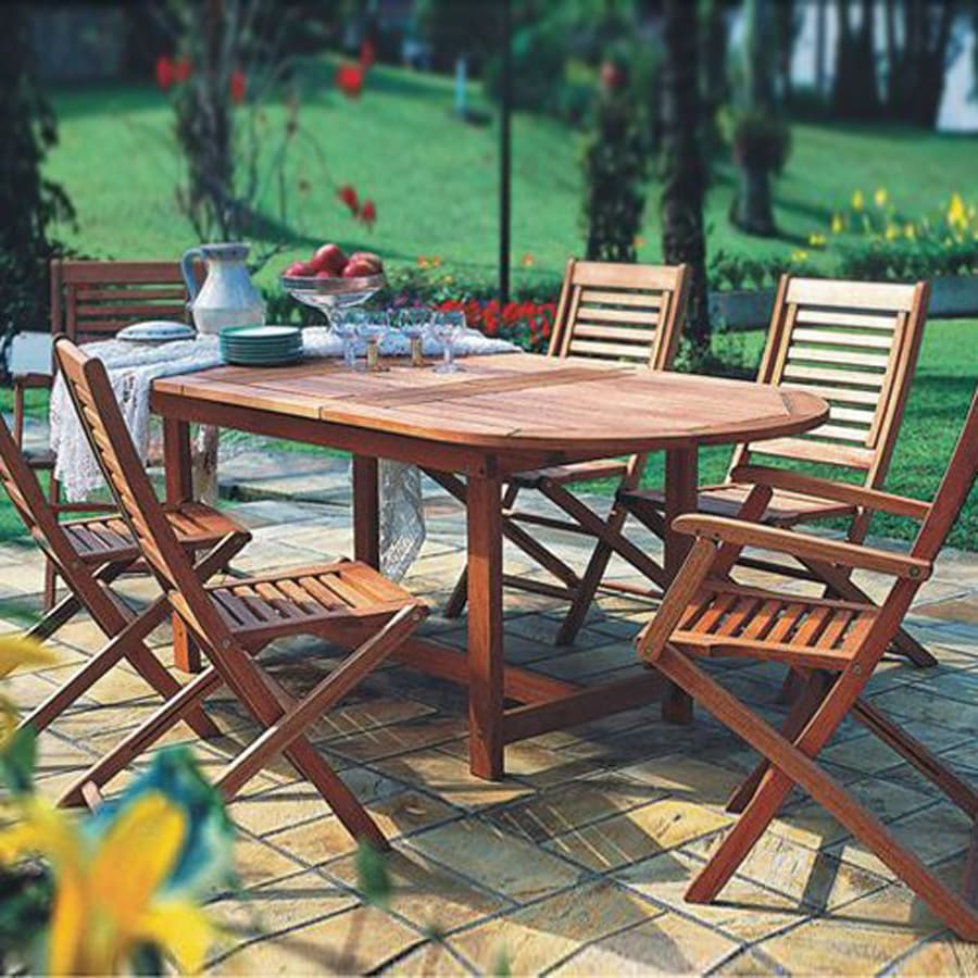International Home Amazonia Milano Grand Extendable 7-Piece Brown Eucalyptus Patio Dining Set