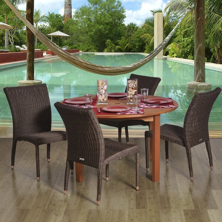 International Home Amazonia 5-Piece Brown Eucalyptus Patio Dining Set