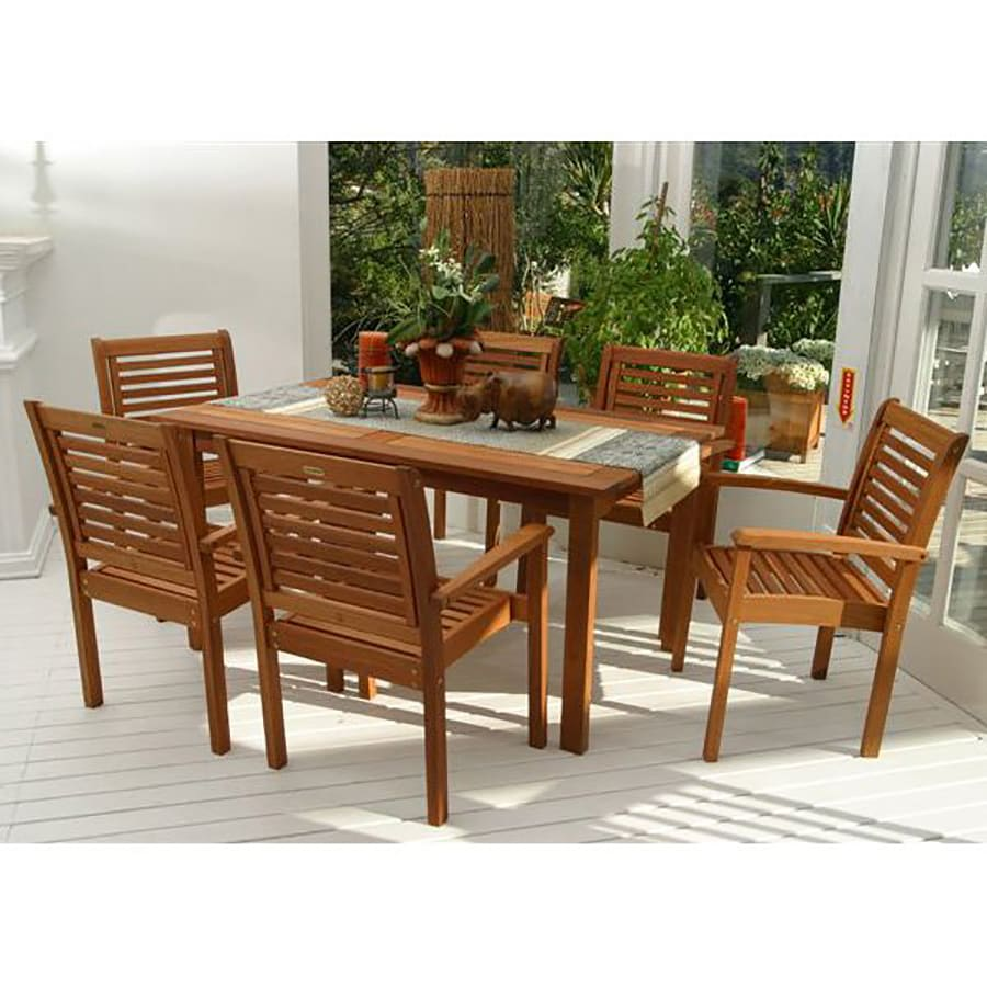 International Home Amazonia 7 Piece Brown Wood Frame Patio Dining Set