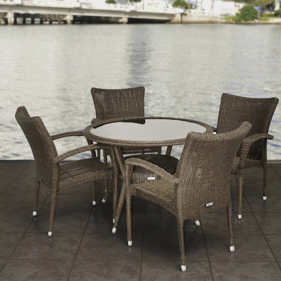 International Home Atlantic 5-Piece Grey/Beige Glass Tabletop Patio Dining Set