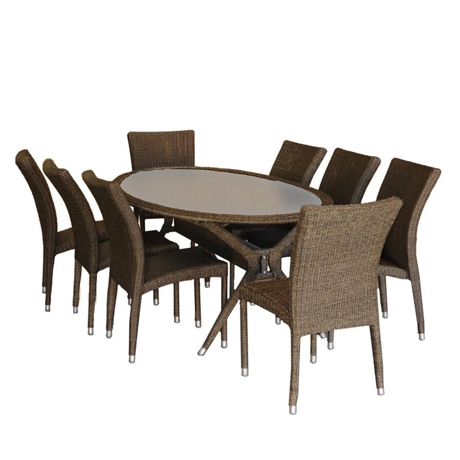 International Home Atlantic 9-Piece Grey/Beige Glass Patio Dining Set
