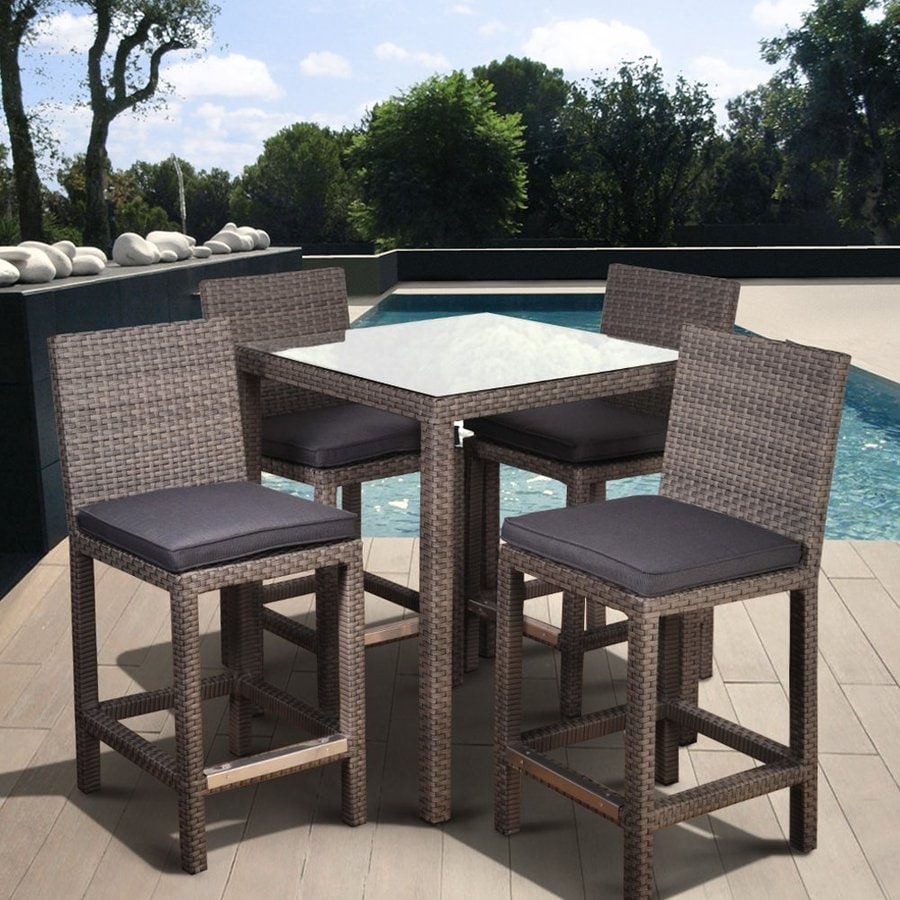 International Home Atlantic Monza 5-Piece Grey Glass Patio Bar Set