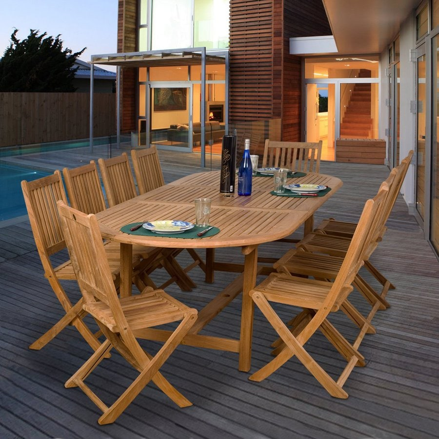 Shop international home amazonia teak 11 piece brown wood for 11 piece dining table set
