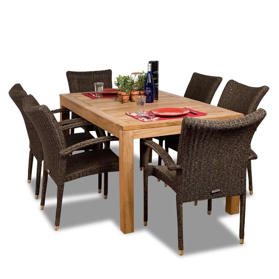 International Home Amazonia Brussels 7-Piece Teak Patio Dining Set