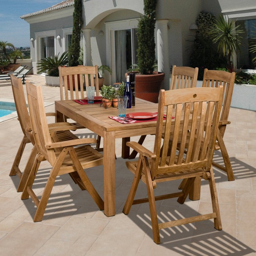 International Home Amazonia Bucarest 7-Piece Teak Patio Dining Set