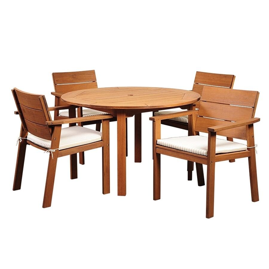 International Home Amazonia 5-Piece Eucalyptus Patio Dining Set