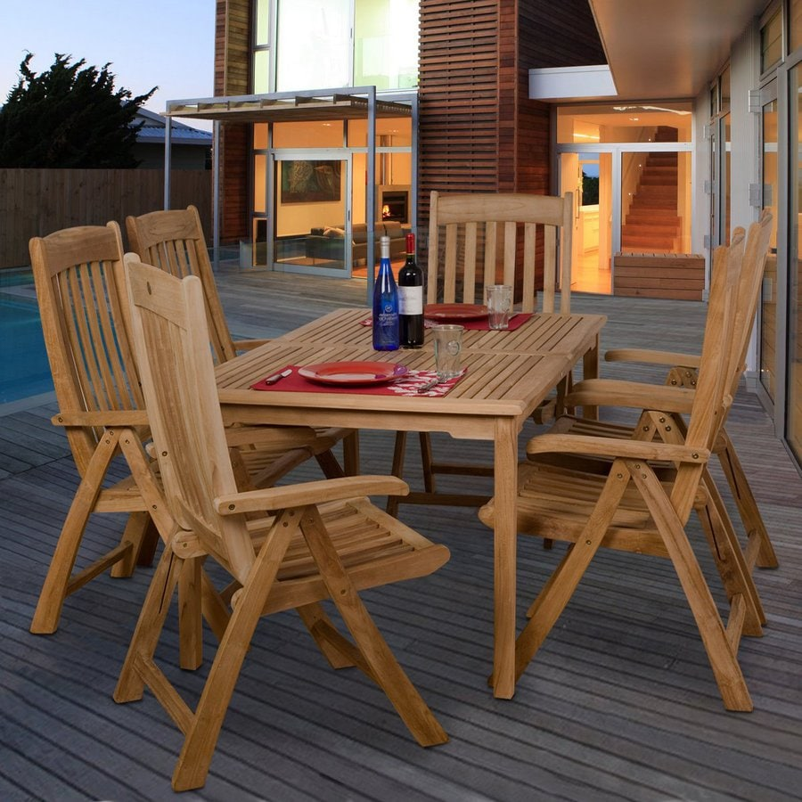 International Home Amazonia Teak 7-Piece Brown Teak Dining Patio Dining Set