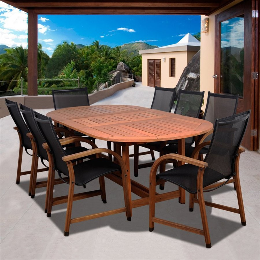 International Home Amazonia 9-Piece Brown Aluminum Dining Patio Dining Set
