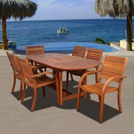 International Home Amazonia 7 Piece Brown Eucalyptus Dining Patio Dining SetShop Patio Dining Sets at Lowes com. Outdoor Furniture Dining Sets. Home Design Ideas