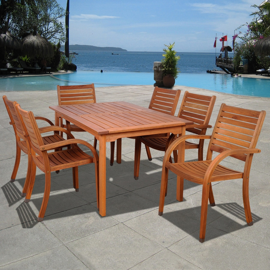International Home Amazonia Arizona 7-Piece Eucalyptus Patio Dining Set