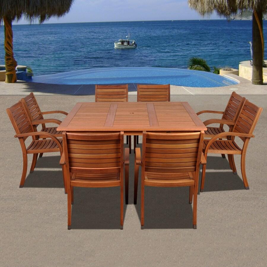 International Home Amazonia 9-Piece Eucalyptus Patio Dining Set