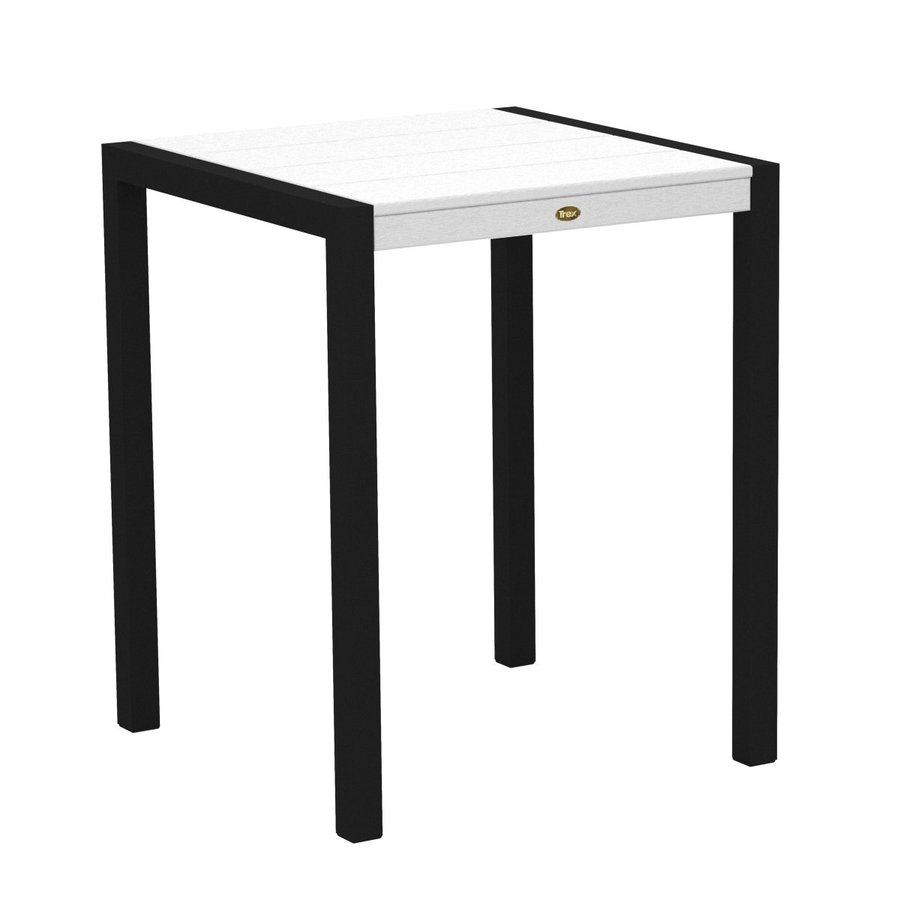 Trex Outdoor Furniture Surf City 29.75-in W x 29.75-in L Textured Black/Classic White Square Aluminum Bistro Table